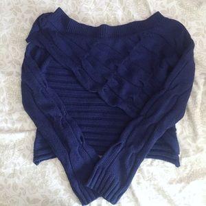 BCBGMaxazria Blue Cropped Ruffle Sweater